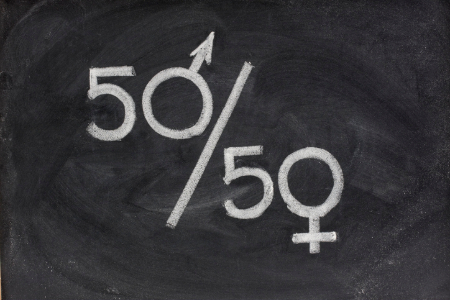 50/50 using male and female symbols. Credit: marekuliasz