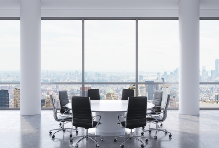 A board room overlooking a city view. Credit: ismagilov