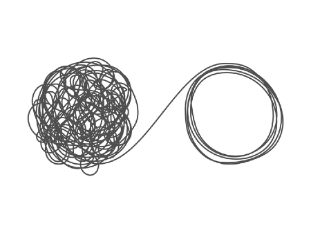 A chaotic mess of string leading to an ordered circle of string. Credit: https://www.istockphoto.com/au/portfolio/egudinka