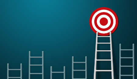 One ladder out of several that can reach the bulls-eye target. Credit: https://www.istockphoto.com/portfolio/marchmeena29