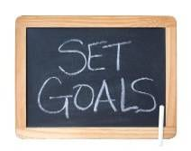set goals written on black board